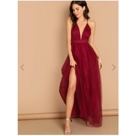 0a80cd85 Open Back Glitter Sequin Halter Dress White Burgundy (Open Back ...