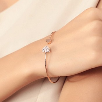 Adjustable Crystal Double Heart Bow Bilezik Cuff Opening Bracelet Women Jewelry Gold Silver