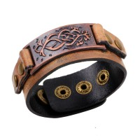 Fashion Brown Genuine Leather Wrap Bracelets bangles for Women/Men Punk style