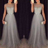 Sequin Patchwork Dress Evening Party Sleeveless O Neck Long Belt Slim Elegant Dress Women Maxi