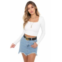 White Denim Skirt Sky Blue