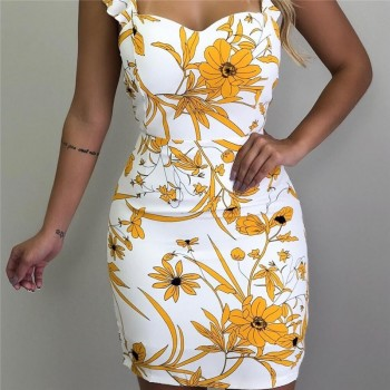 2019 Sexy Women Bodycon Pencil Dress Casual Sleeveless Print Backless Slim Office Ladies Mini Party Dresses Vestidos