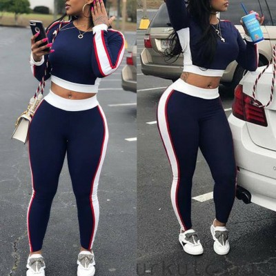 Casual Women Sports Set Long Sleeve Crop Top Pants Outfit Workout Gym Fitness Athletic Workout Clothes Tracksuit
