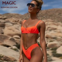 New High Waist Thong Bikini Set Swimwear Sexy Fluorescent Orange Split Swimsuit Europe 2 Piece Swimming Suit Women Bathing Suits
