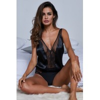 Intimates Love Stories Black Silk Bodysuit