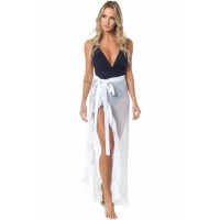White Ruffled Tulle Beach Cover up Maxi Skirt Black
