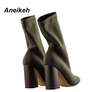 Pointed Toe Yarn Elastic Ankle Boots Thick Heel High Heels Shoes Black Green