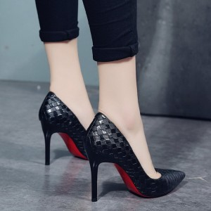 Thin high heels shoes elegant red bottom pointed toe Pumps Black White