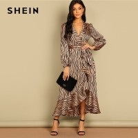 9c7837bd8bc7 Deep V Neck Shawl Collar Surplice Wrap Flounce Animal Zebra Belted Fit and  Flare Mid Waist