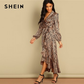 Deep V Neck Shawl Collar Surplice Wrap Flounce Animal Zebra Belted Fit and Flare Mid Waist Dress Women
