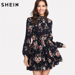 Floral Women Dress Multicolor Elegant Long Sleeve High Waist A Line Chic Dress Ladies Tie Neck Dress