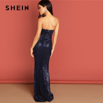 Navy Elegant Sequin Mesh Strapless Bodycon Evening Gown High Waist Zipper