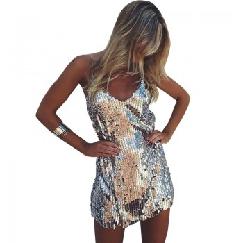 Deep V Neck Autumn Silver Sequined Backless Sexy Dress Women Off Shoulder Mini Dress