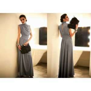Elegance Elastic Waist Ruffle Stand Collar Sleeveless Evening Dress For Women