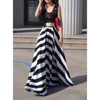 Hollow Out Design Striped Sleeveless Scoop Neck Floor-Length Dress For Women