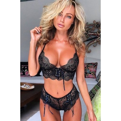 Black Push Up Seamless Wire Free Lace Bralette Set