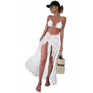 White Sheer Wrap Sarong Maxi Beach Skirt