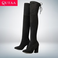 QUTAA 2018 New Flock Leather Women Over The Knee Boots Lace Up Sexy High Heels Autumn Woman Shoes Winter Women Boots Size 34-43