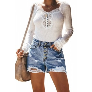 Black Hot Mama High Rise Distressed Denim Shorts Sky Blue