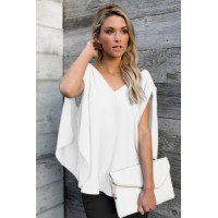Gray V-Neck Bowknot Three-Quarter Sleeve Blouse White
