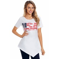 The USA Flag Print Asymmetric Hem T-shirt