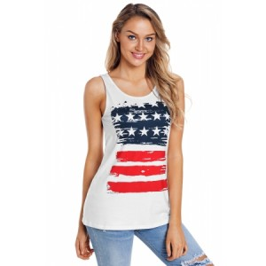 Vintage Stars & Stripes Print White Active Tank Top