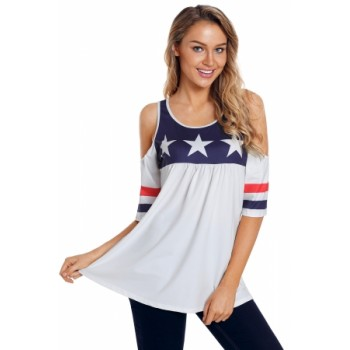 White Cold Shoulder American Tee with Varsity Stripes