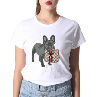 White Pet Dog T-shirt Women Summer T Shirt