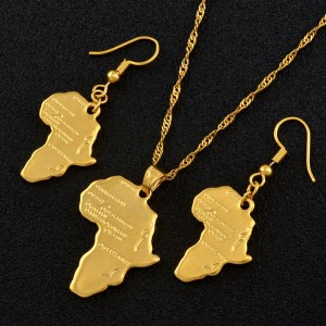 Anniyo Africa Map Jewelry set Pendant Necklaces Earrings Gold Color Map of African Ethiopian Nigeria Sudan Congo sets
