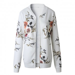 Fashion Retro Floral Print Women Coat Casual Zipper Up Bomber Jacket Ladies Casual Autumn Outwear Coats Women Clothing Green White Red Blue