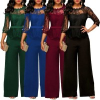 Fashion Women Plus Size Jumpsuit Solid Color Playsuit Party Romper Half Lace Sleeve Party Elegant Long Jumpsuit Black Blue Green Red