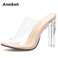 New PVC Jelly Sandals Crystal Open Toed Sexy Thin Heels Crystal Women Transparent Heel Sandals Slippers Pumps Apricot Black