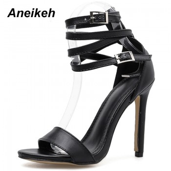 Sexy Design Women Gladiator Style Buckle Thin High Heels Black PU Open Toe Dress Sandals Black Apricot