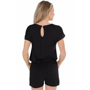 Black Short Sleeve Drawstring Romper Nanvy Stripe