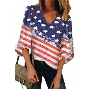 Blue The American Flag V Neck Blouse