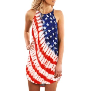 Sleeveless Summer American Flag Print Dress