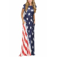 Stars Stripes The USA Flag Print Summer Maxi Dress