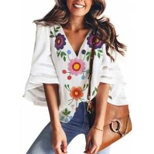 White V Collar Floral Print Bell Sleeve T-shirt Blouse