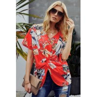 Orange Amaryllis Floral Twist Top