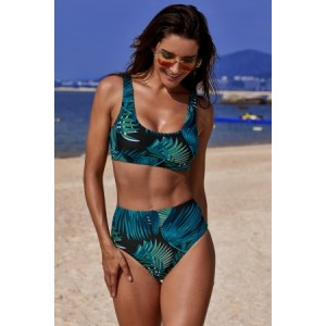 Black U-neckline High Waist Tropical Tankinis