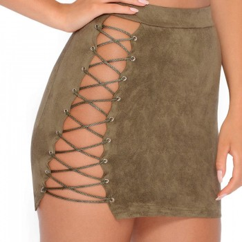 Halter Crop Tops +Lace Up Bandage Hot Skirts 2 Piece Green Pink