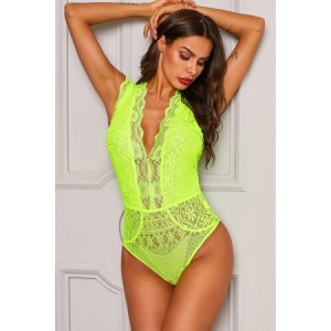 Yellow V Neck Hollow-out Lace Bodysuit