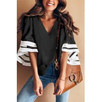 Black Contrast Color Flare Sleeve V Neck Loose Blouse Red