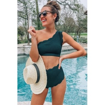 Black High Waist Scalloped Trim One Shoulder Bikini Yellow Green
