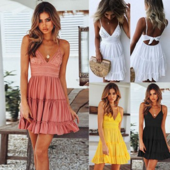 Boho Short Mini Dress V Neck High Waist Evening Party Beach Dresses Sundress Black Pink White Yellow