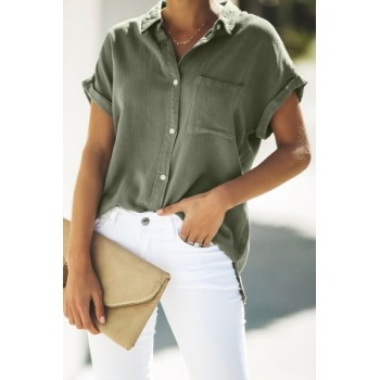 Green Button Down Top Pink White