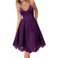Purple Lace Floral V Neck Backless Cocktail A-Line Dress Black Blue