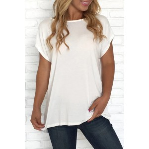 White Criss Cross Short Sleeve T Shirt