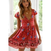Orange Red Floral Print Valentina Dress Blue Yellow