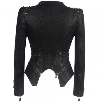 Smooth Motorcycle Faux Leather Jackets Ladies Long Sleeve Autumn Winter Biker Streetwear Black